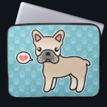 "Cream Cartoon French Bulldog Love Laptop Sleeve<br><div class=""desc"">Do you like the French Bulldog dog breed? This item features a cute original cartoon illustration by Destei of a cream French Bulldog dog.</div>"