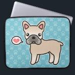 "Cream Cartoon French Bulldog Love Laptop Sleeve<br><div class=""desc"">Do you like the French Bulldog dog breed? This item features a cute original cartoon illustration by Destei of a cream French Bulldog dog.</div>"