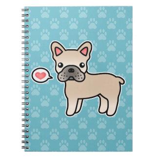 Cream Cartoon French Bulldog Love Spiral Notebook