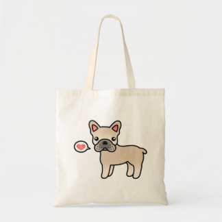 Cream Cartoon French Bulldog Love Tote Bag