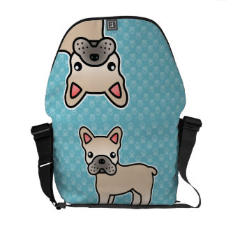 Cream Cartoon French Bulldog Messenger Bag