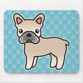 Cream Cartoon French Bulldog Mouse Pad