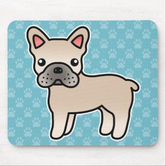 Cream Cartoon French Bulldog Mouse Pads