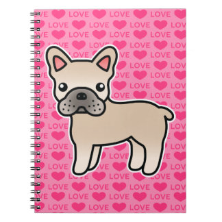 Cream Cartoon French Bulldog Spiral Notebook
