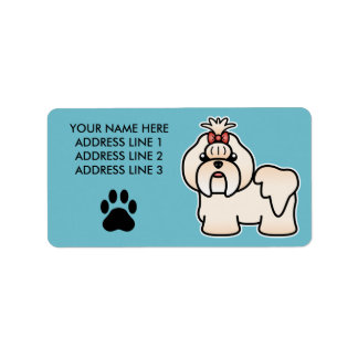 Cream Cartoon Shih Tzu Label