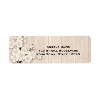 Cream Cherry Blossoms on Wood Label
