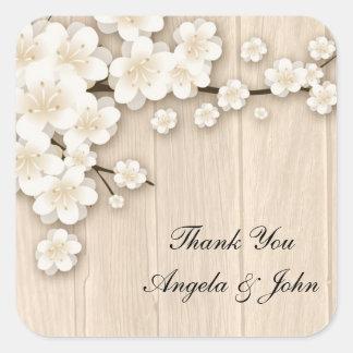 Cream Cherry Blossoms on Wood Square Sticker