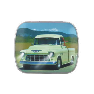 Cream Chevy Classic Truck for Car-lovers Jelly Belly Candy Tin