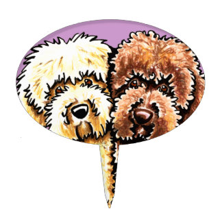 Cream Chocolate Labradoodles Cake Topper