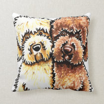 Cream Chocolate Labradoodles Drawing Throw Pillow