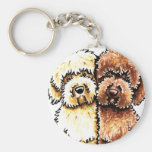 Cream Chocolate Labradoodles Key Chain