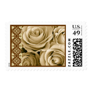 CREAM & CHOCOLATE Roses and Lace Wedding Stamp