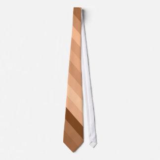 Cream, Coffee, Brown Color Retro Stripes - Tie