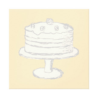 Cream Color Cake on Beige Background. Canvas Print