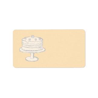 Cream Color Cake on Beige Background. Label