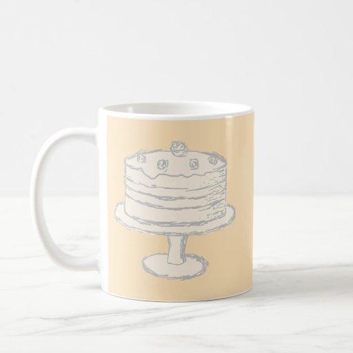Cream Color Cake on Beige Background. Classic White Coffee Mug