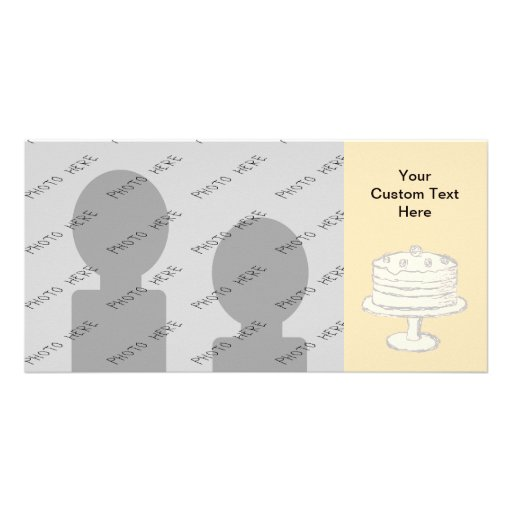 Cream Color Cake on Beige Background. Photo Card Template