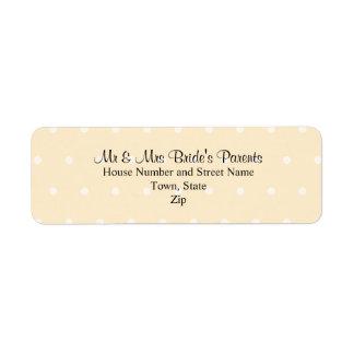 Cream Color Polka Dot Wedding Label