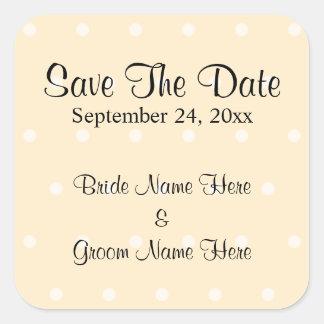 Cream Color Polka Dot Wedding Save The Date Square Sticker