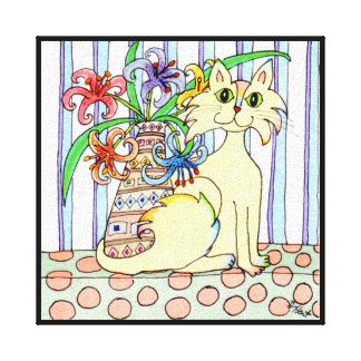 Cream-Colored Cat with Pastel Lilies Canvas Print