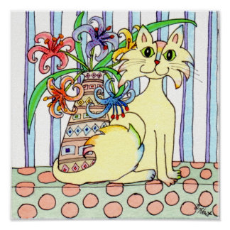 Cream-Colored Cat with Pastel Lilies Poster