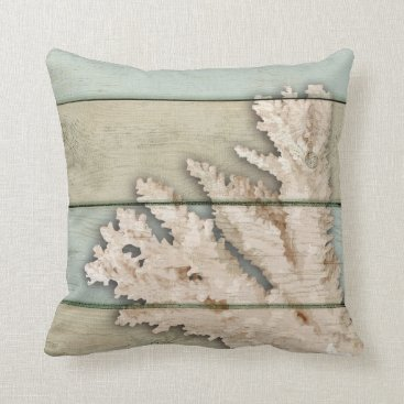Beach Themed Cream Colored Coral Throw Pillow