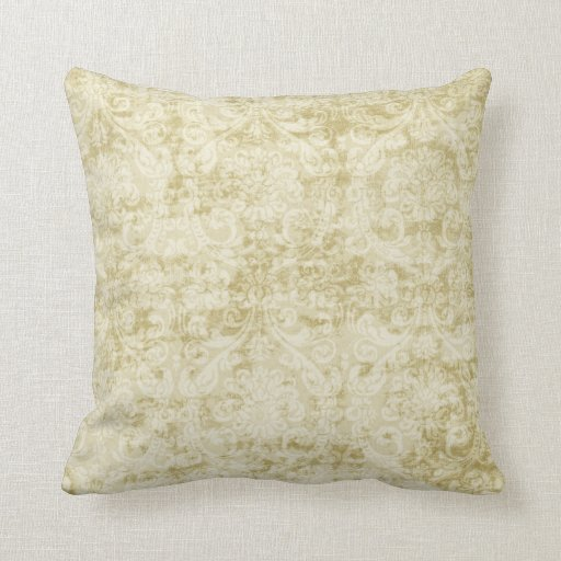 Throw Pillows Cream : Cream Colored Damask floral Wallpaper Pattern Throw Pillows Zazzle