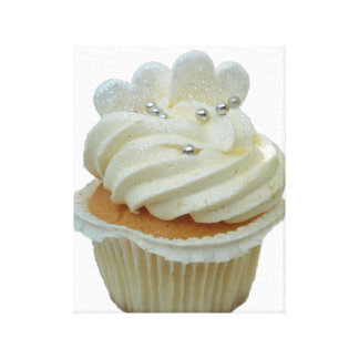 Cream Cupcake and Hearts Wrapped Canvas Canvas Prints
