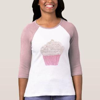 Cream Cupcake Ladies 3/4 Sleave Raglan Tee Shirt