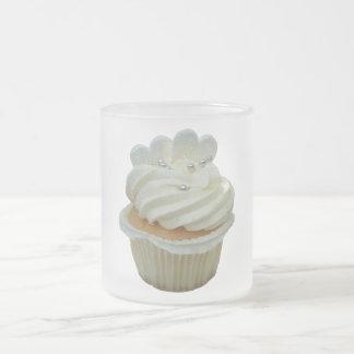 Cream cupcake with hearts glass mug