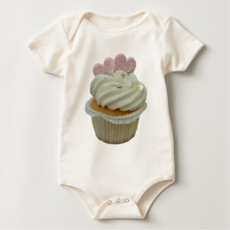 Cream Cupcake with Pink Hearts Baby Bodysuit