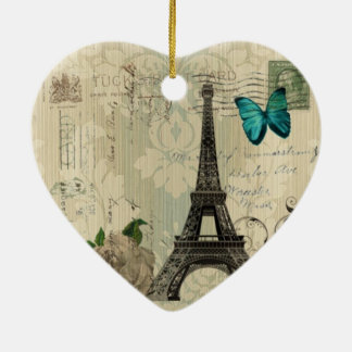 Cream Damask butterfly rose Paris Eiffel Tower Ceramic Ornament