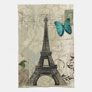Cream Damask butterfly rose Paris Eiffel Tower Hand Towel