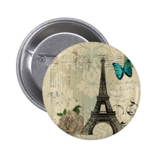 Cream Damask butterfly rose Paris Eiffel Tower Pinback Button