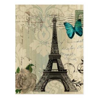 Cream Damask butterfly rose Paris Eiffel Tower Postcard
