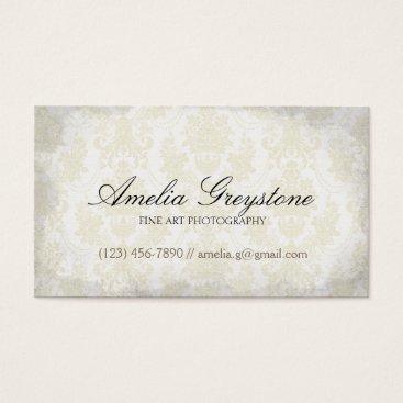 Professional Business Cream Damask Elegant Vintage Business Card