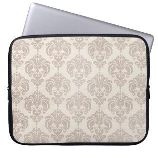 Cream Damask Laptop Sleeve