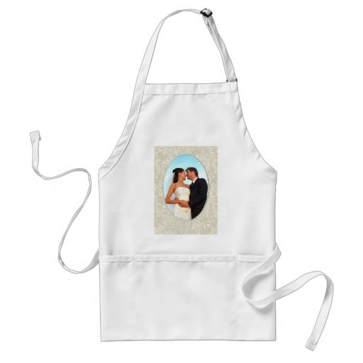 Cream damask wedding photo template adult apron