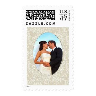 Cream damask wedding photo template postage stamp