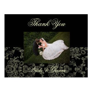 CREAM DAMASK WEDDING PHOTO THANK YOU POSTCARD