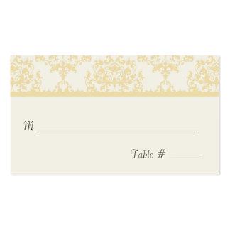 Cream Damask Wedding Reception Place Card Business Card