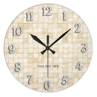 Cream Decorative Tile Design Large Clock