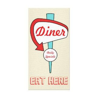 Cream Diner Sign Canvas