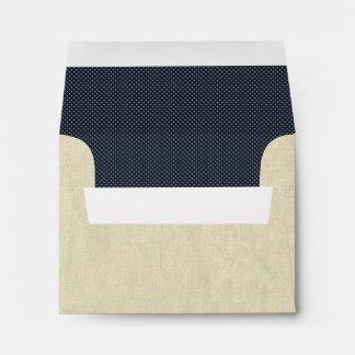 Cream Dots on Denim Blue Envelope