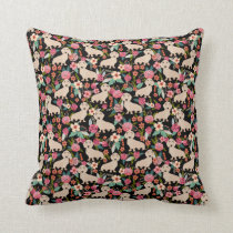 Cream Doxie Floral - cream florals Throw Pillow