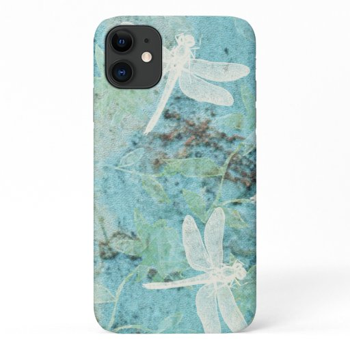 Cream Dragonflies on Blue Teal Background iPhone 11 Case