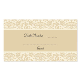 Cream & Ecru Damask Wedding Table Place Cards Business Card