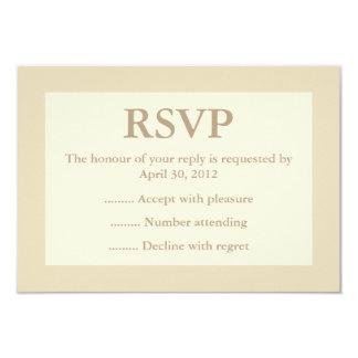 "Cream & Ecru Event Reply, RSVP or Response Cards 3.5"" X 5"" Invitation Card"
