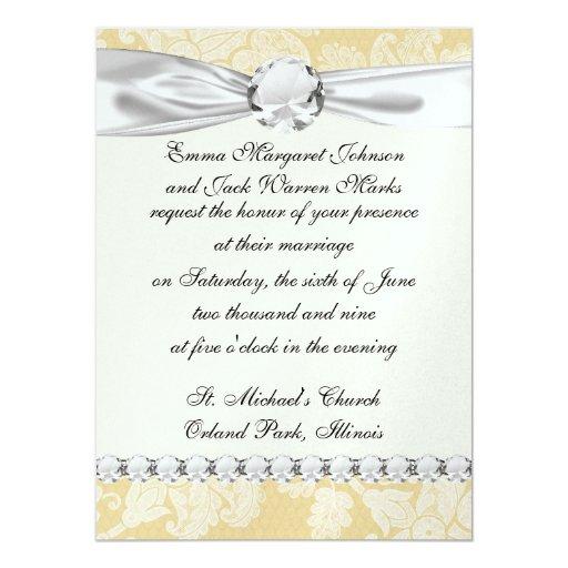 cream ecru floral elegant damask personalized invites
