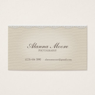 Cream Faux Linen and Lace Vintage Business Card